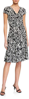 Maggy London Leaf-Print Drawstring Ruched Fit-&-Flare Dress