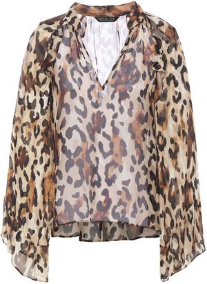 Rachel Zoe Ruffle-trimmed Leopard-print Chiffon Blouse