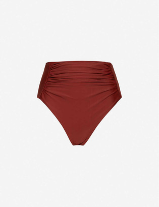 Self-Portrait Ruched high-rise bikini bottoms