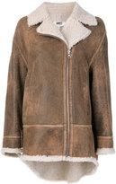 MM6 MAISON MARGIELA oversized Sand jacket - women - Cotton/Lamb Fur - M