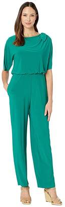 Vince Camuto Ity Jumpsuit w/ Bow at Shoulder (Green) Women's Jumpsuit & Rompers One Piece