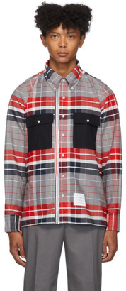 Thom Browne Red and Navy Zip-Up Norfolk Shirt