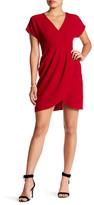 London Times Surplice V-Neck Solid Dress (Petite)