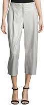 Lafayette 148 New York Cropped Leather Wide-Leg Pants, Opal