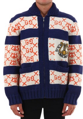 Gucci GG Striped Zip-Up Cardigan
