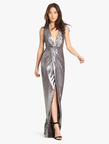 Halston Metallic Jersey Gown With Twist