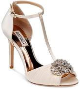 Badgley Mischka Darling Embellished T Strap Peep Toe Pumps