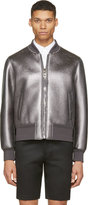 Neil Barrett Gunmetal Metalllic Leather Bomber Jacket