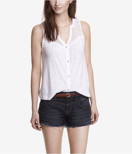 Express Sleeveless Mesh Yoke Slub Knit Shirt