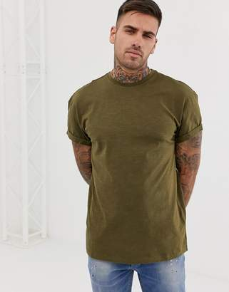 New Look high roll t-shirt in khaki-Green