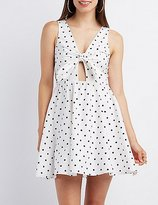 Charlotte Russe Polka Dot Knotted Skater Dress