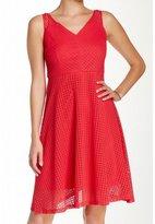 London Times T1277M V-Neck Eyelet Lace A-Line Dress