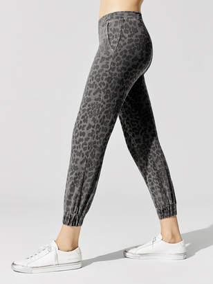 Sundry Leopard Ruched Cuff Sweatpant