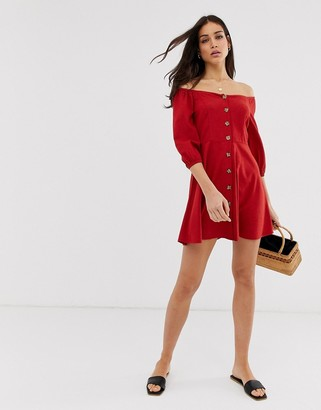 Stradivarius off shoulder button front dress in red