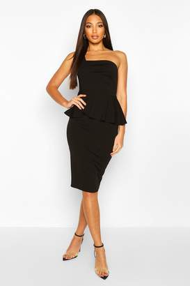 boohoo One Shoulder Pleated Peplum Bodycon Midi Dress
