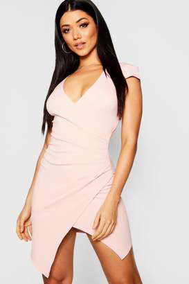 boohoo Cap Sleeved Wrap Detail Bodycon Dress