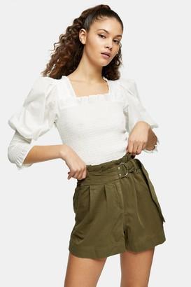 Topshop Womens Khaki Utility Shorts - Khaki