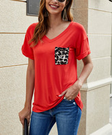 Suvimuga Women's Tee Shirt Dresses Red - Dark Red Leopard Print Pocket V-Neck Tee - Women