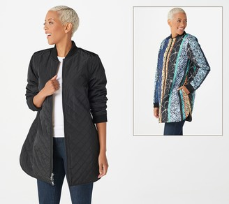 Logo by Lori Goldstein Reversible Quilted Zip Front Jacket