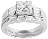 Journee Collection 2 1/3 CT. T.W. Princess-Cut Cubic Zirconia Basket Set Engagement Ring Set in Sterling Silver - Silver