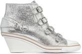 Ash Genial metallic textured-leather wedge sneakers