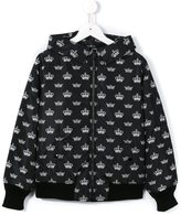Dolce & Gabbana crown print hooded jacket - kids - Polyamide/Polyester - 10 yrs