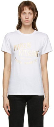 MAISON KITSUNÉ White and Gold Palais Royal Classic T-Shirt