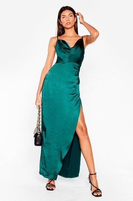 Nasty Gal Womens Cowl on Me Satin Maxi Dress - Dark Green