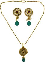 Matra Indian Designer Gold Tone Kundan Stone 2 Pcs Pendant Necklace Set Party Jewelry