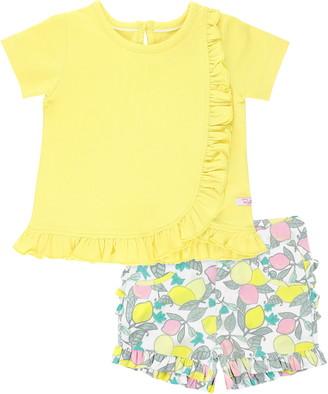 RuffleButts Ruffle T-Shirt & Lemon Print Shorts Set