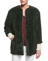 Isabel Marant Abril Faux-Fur Jacket, Dark Green