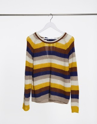 Vila round neck knitted jumper in yellow stripe