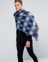 Asos Check Scarf In Brushed Yarn In Blue