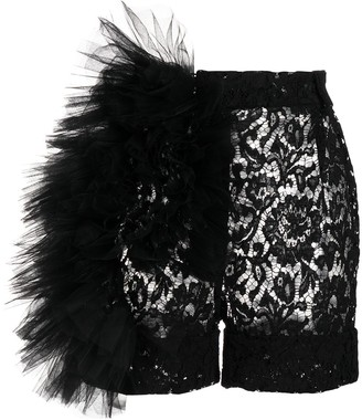 Loulou Mesh-Detail Tailored Shorts