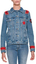 Ermanno Scervino Button-Front Denim Jacket with Mink Fur and Military Patches