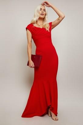 Little Mistress Noemi Red Bardot Fishtail Maxi Dress