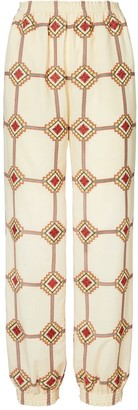 Tory Burch Embroidered Elastic-Waist Pant