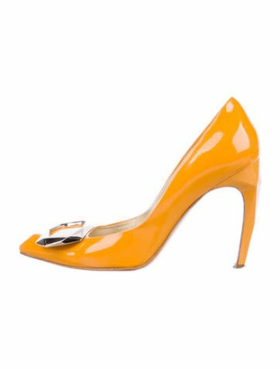 Roger Vivier Embellished Patent Leather Pumps Yellow