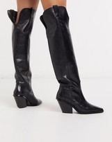 And other stories & over-the-knee cowboy boots in black