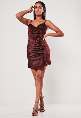 Missguided Wine Satin Ruched Wrap Mini Dress