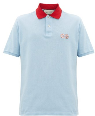 Gucci Logo-embroidered Cotton-blend Pique Polo Shirt - Light Blue