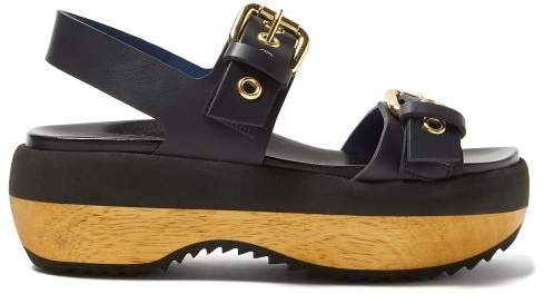 Marni Double Strap Buckled Leather Flatforms - Womens - Navy