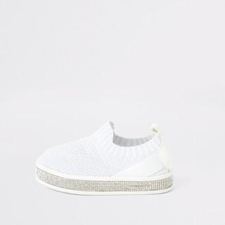 River Island Mini girls White knitted diamante trainers