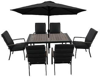 LG Electronics Outdoor Milan 6 Seater Garden Dining Table and Chairs Set with Parasol