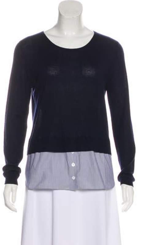 Silk-Blend Long Sleeve Sweater white Silk-Blend Long Sleeve Sweater