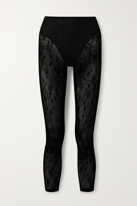 Adam Selman Stretch-mesh Leggings - Black
