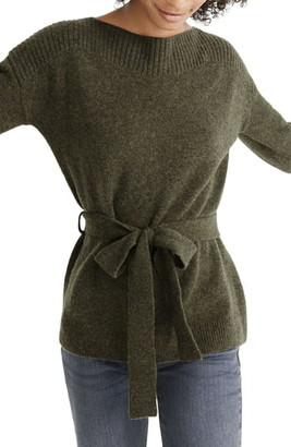 Madewell Boatneck Tie Waist Pullover Sweater