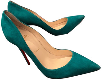Christian Louboutin So Kate Turquoise Suede Heels