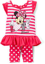 Children's Apparel Network Pink Stripe Minnie Mouse Angel-Sleeve Top & Leggings - Infant