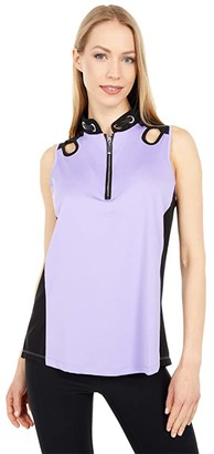 Jamie Sadock Solid Halter with Contrast (Crocus) Women's Clothing